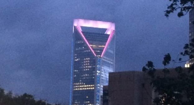 شرکت ولز فارگو دفتر مرکزی  خود در کرولینای شمالی را با پرچم دگرجنسگونه ها و مثلث صورتی بزرگی چراغانی نمود